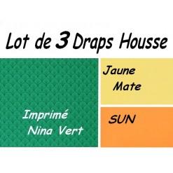 TOP PROMO / LOT 3 DRAP HOUSSE 80x180 / 3DHNINA