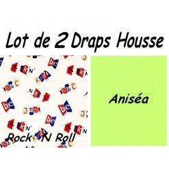 TOP PROMO / LOT 2 DRAP HOUSSE 130x190  / 2DHROCK anisea