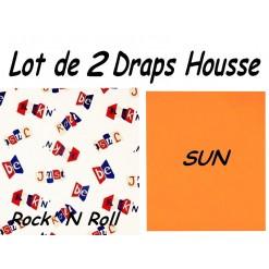 TOP PROMO / LOT 2 DRAP HOUSSE 130x190  / 2DHROCK sun