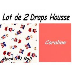 TOP PROMO / LOT 2 DRAP HOUSSE 140x190  / 2DHROCK coraline
