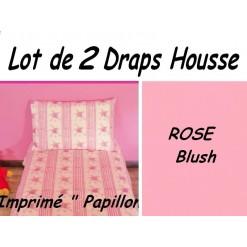 TOP PROMO / LOT 2 DRAP HOUSSE 180x190  / 2DHPAPILLON