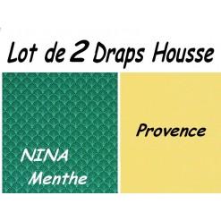 TOP PROMO / LOT 2 DRAP HOUSSE 180x190  / 2DHNINA Menthe