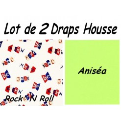 TOP PROMO / LOT 2 DRAP HOUSSE 180x190  / 2DHROCKaniséa