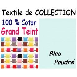 TAIE OREILLER 60x70 cm GRAND TEINT / BLEU POUDRE