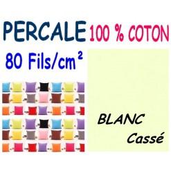 LA TAIE OREILLER 40x60 cm PERCALE / BLANC Cassé